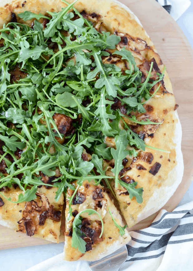 Bacon And Goat Brie Pizza With Vanilla Passion Fruit Jam
