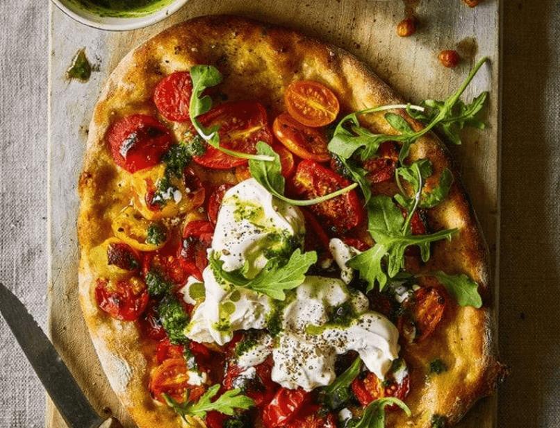 Burrata Cheese Pizza with Cherry Tomatoes and Fresh Basil – Burrata House