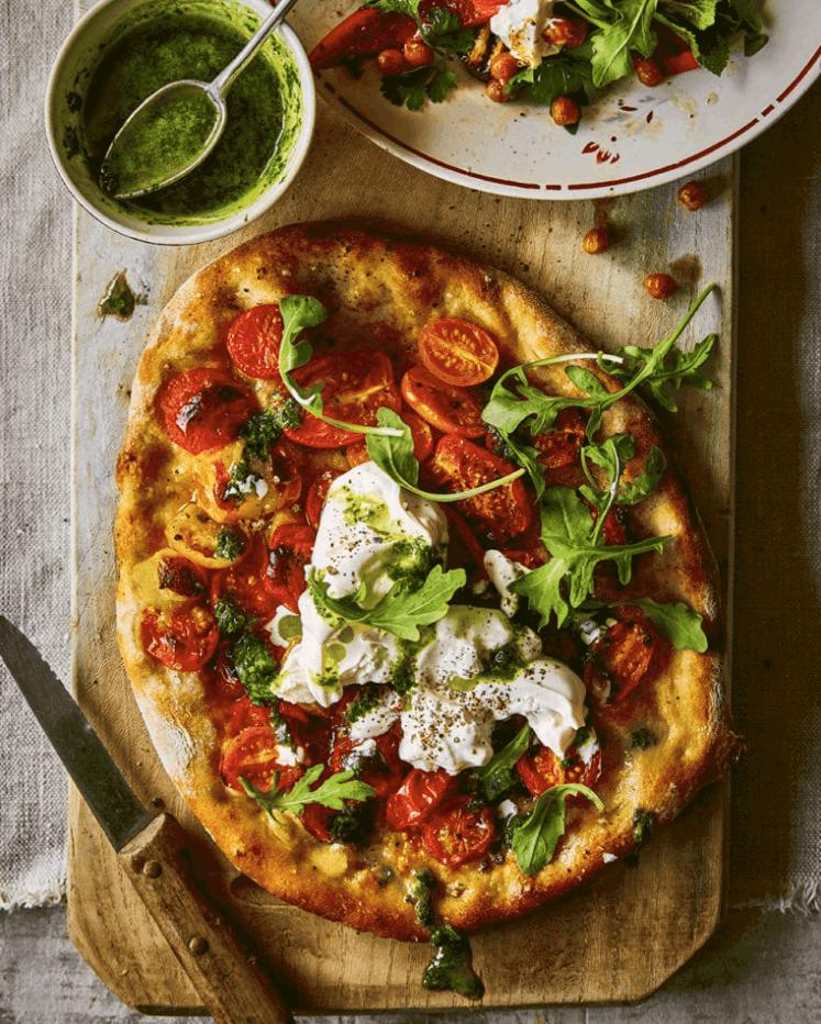 Cherry Tomatoes, Burrata and Herb Pesto Pizza Recipe