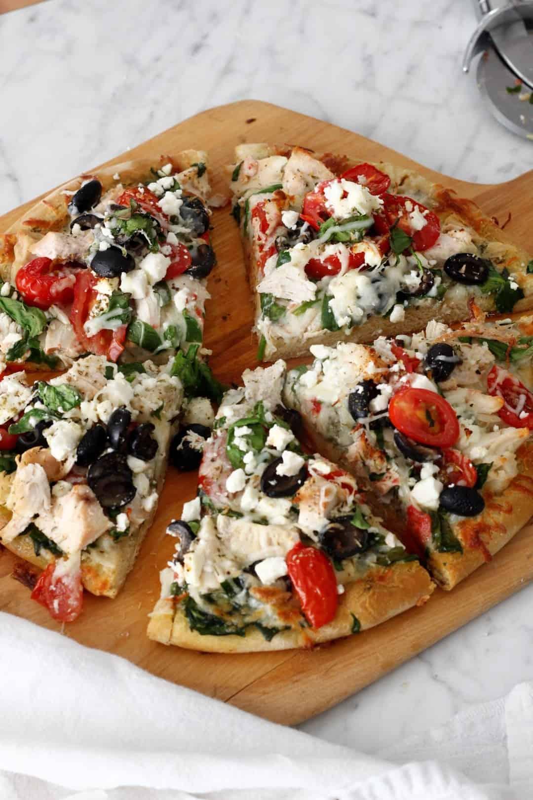 Chicken Skillet Mediterranean Pizza