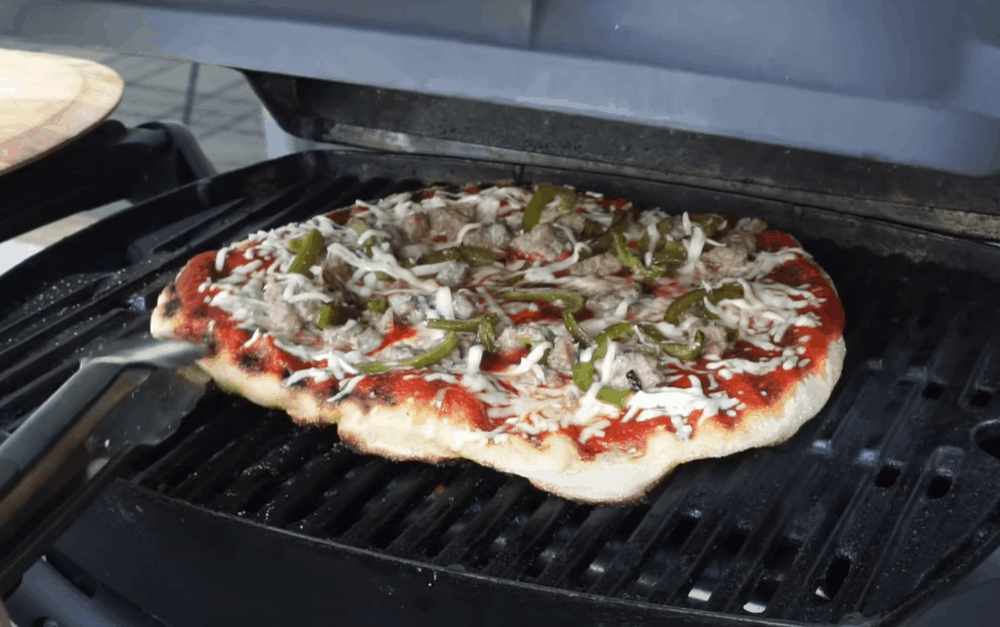 Flip the dough and add the toppings