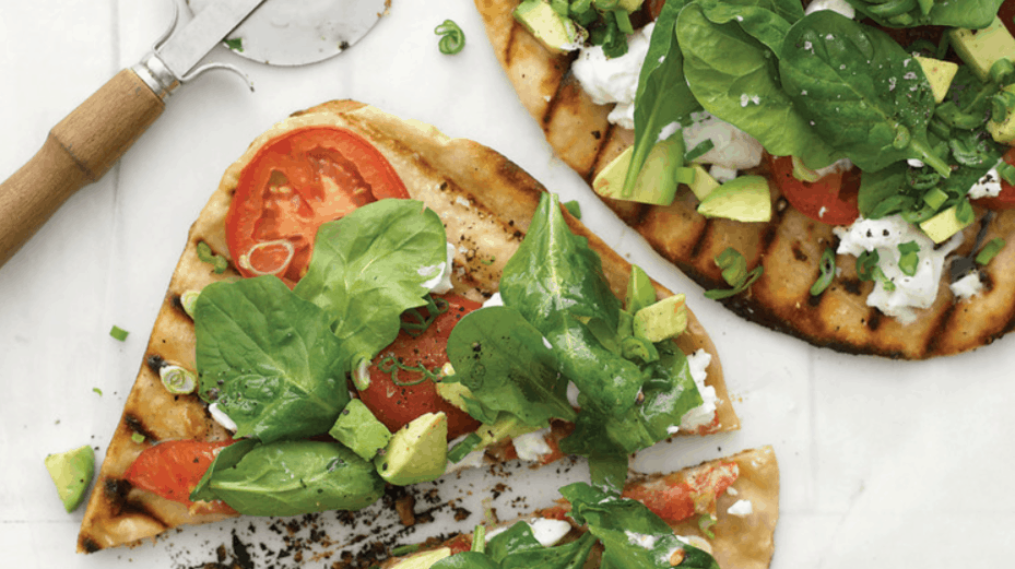 Grilled Avocado Goat Cheese Pizza