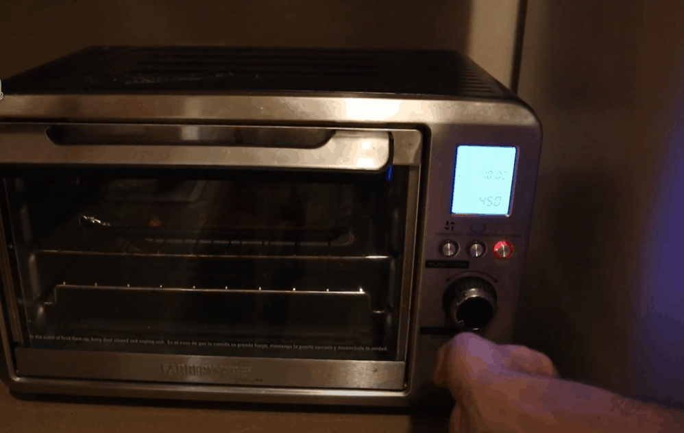 Let the toaster oven preheat