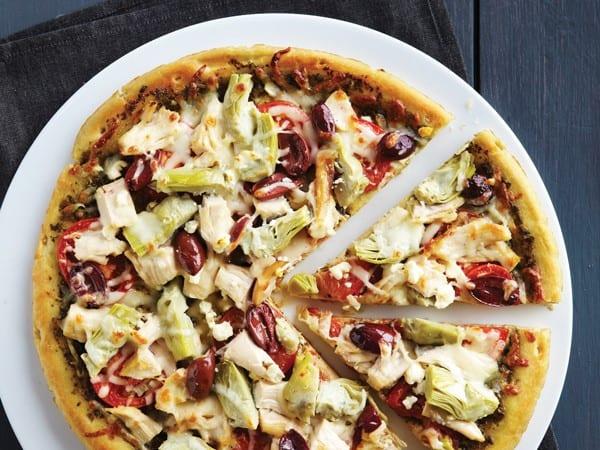 Mediterranean Pesto Chicken Pizza