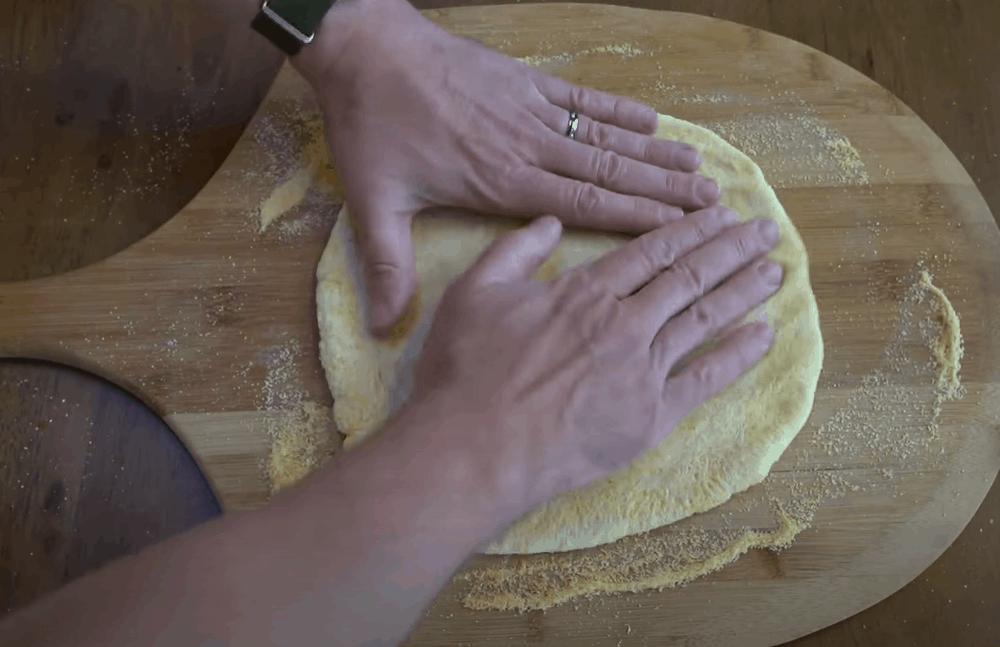 Shape the pizza dough