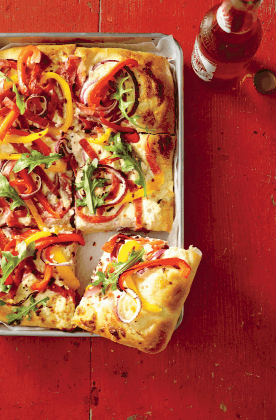 Sheet Pan Pizza with Peppers and Salami
