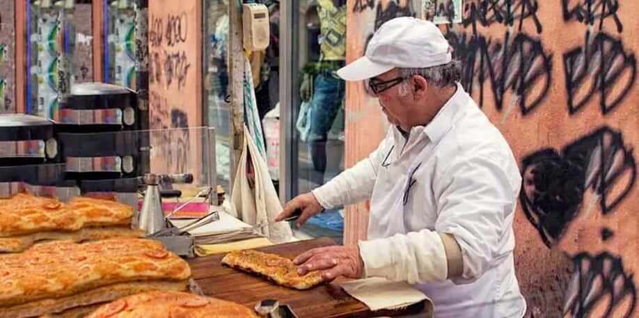 Sicilian pizza from Palermo