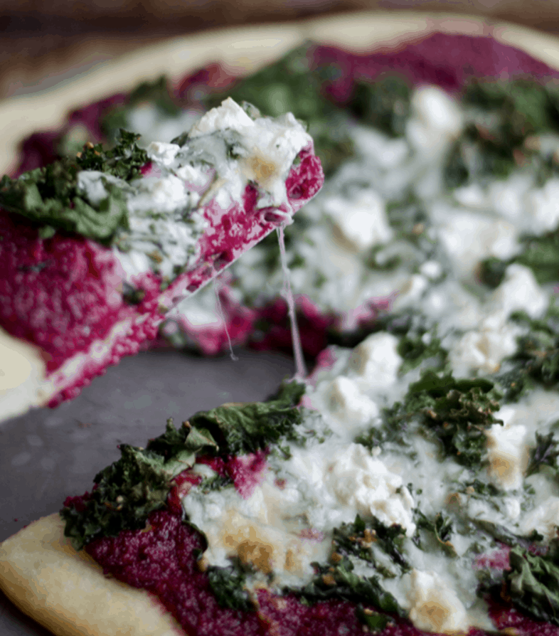 Beet Pesto, Goat Cheese, and Kale Pizza