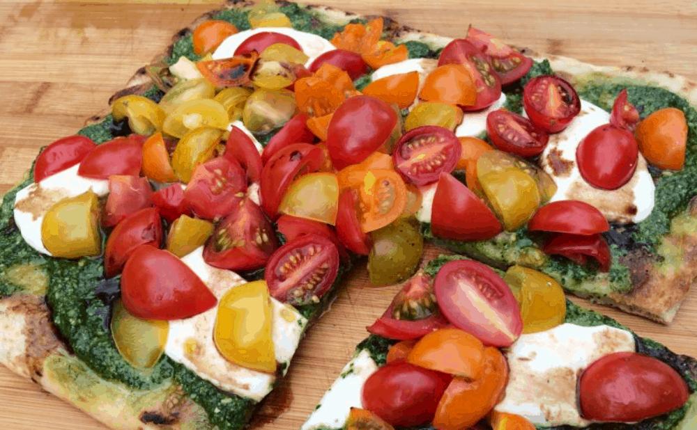Grilled Heirloom Tomato Pesto Pizza