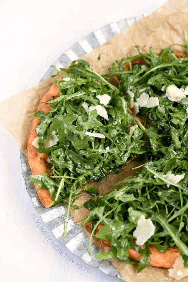Keto Pesto Pizza with Fresh Arugula