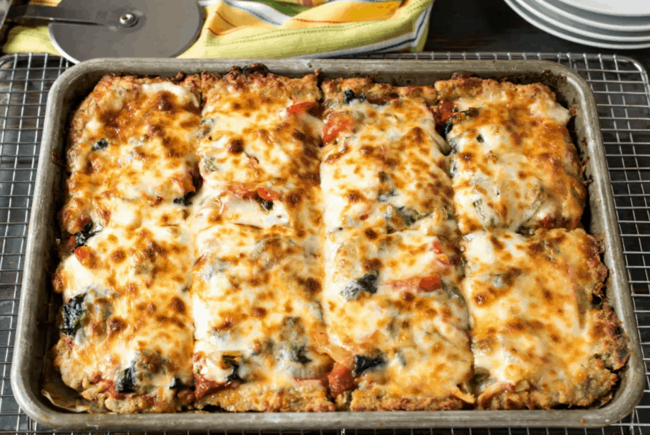 Keto Sheet Pan Pizza with Sausage Crust – A Family Feast