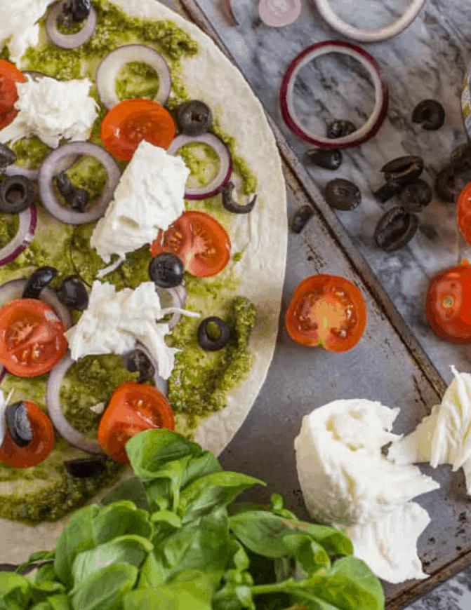 Pesto Tortilla Pizza Recipe