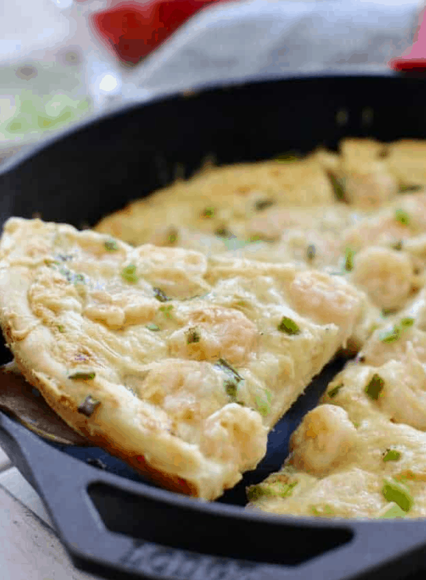 Shrimp Pizza with 5 Minute Alfredo Sauce – Laughing Spatula