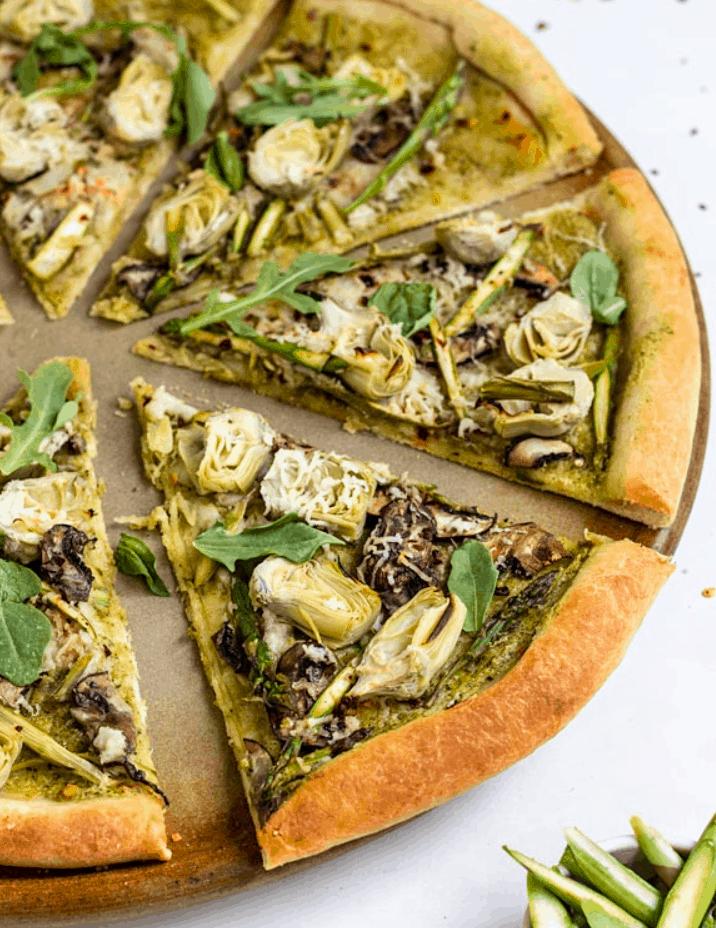 Vegan Artichoke Pesto Pizza